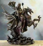 Stunning Bronze Effect Warrior Queen Riding Dragon Fantasy Art Figurine